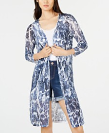 I.N.C. Snake-Print Duster Cardigan, Created for Macy's