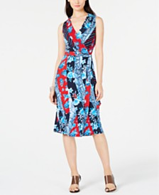 I.N.C. Petite Patchwork Wrap Midi Dress, Created for Macy's