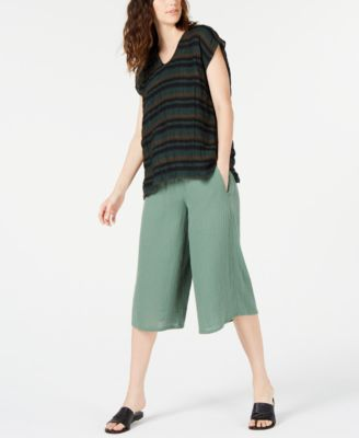 Drawstring Pull-On Cropped Pants