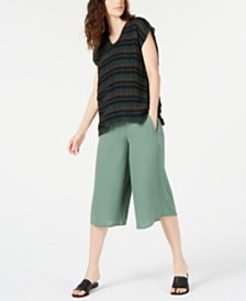 Eileen Fisher V-Neck Top & Culotte Pants