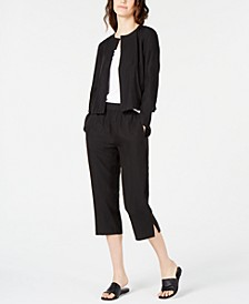 Open-Front Jacket & Cropped Pull-On Pants, Regular & Petite