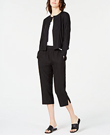 Eileen Fisher Open-Front Jacket & Cropped Pull-On Pants, Regular & Petite