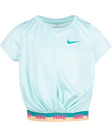 Nike Little Girls Cropped Dri-FIT Logo T-Shirt