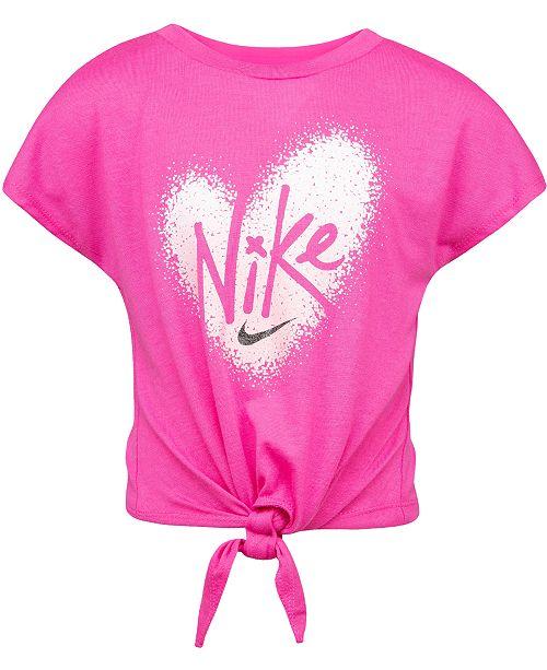 Nike Little Girls Pixel-Heart Tie-Front T-Shirt