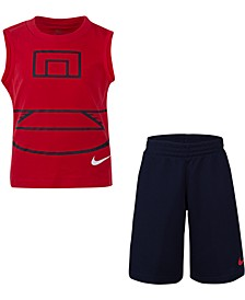 Little Boys 2-Pc. Basketball Court Muscle T-Shirt & Mesh Shorts Set