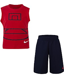 Nike Little Boys 2-Pc. Basketball Court Muscle T-Shirt & Mesh Shorts Set