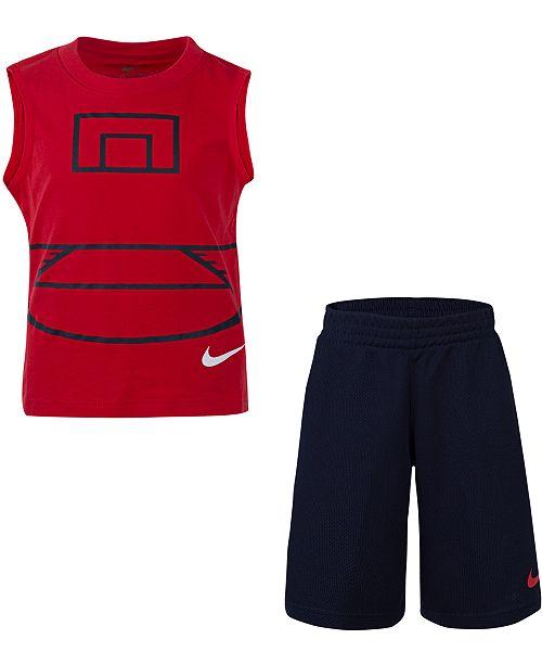 Nike Toddler Boys 2-Pc. Basketball Court Muscle T-Shirt & Mesh Shorts Set
