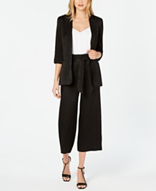 Calvin Klein 3/4-Sleeve One-Button Jacket, Button-Down Camisole & Culottes
