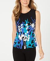 a55d438e9a2 Calvin Klein Pleated Floral-Print Top