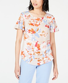 Bar III Floral-Printed Blouse, Created for Macy's