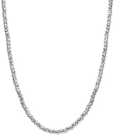 Adjustable Diamond Cut Beaded Necklace in Sterling Silver