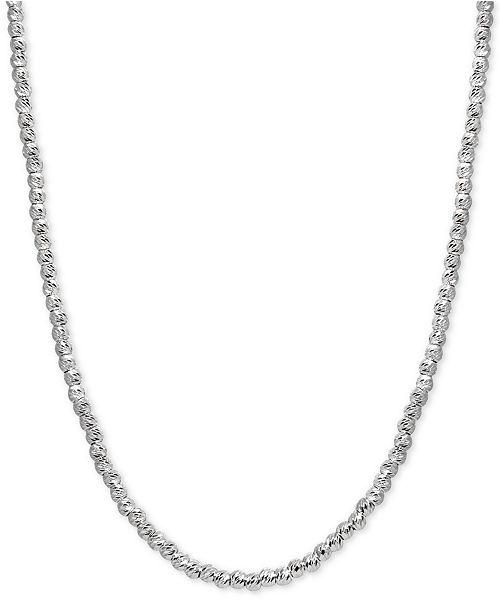 Giani Bernini Adjustable Diamond Cut Beaded Necklace in Sterling Silver