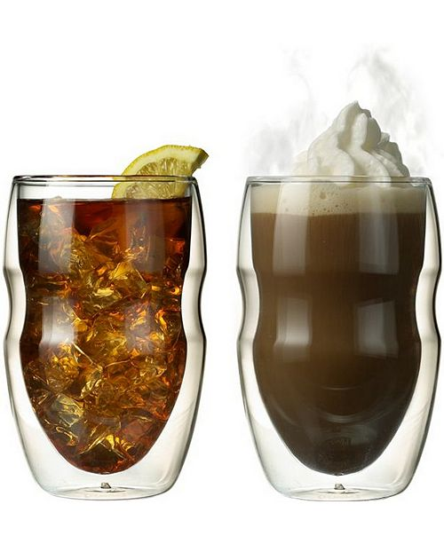 Ozeri Serafino Artisan Series Double Wall 12 oz Iced Tea and Coffee Glasses - Set of 2