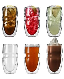 Serafino Artisan Series Double Wall 16 oz Iced Tea and Coffee Glasses - Set of 6