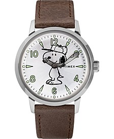 Timex X Welton Peanuts Featuring Snoopy 40mm Leather Strap Watch