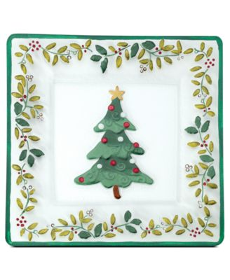 Winterberry Square Glass Platter