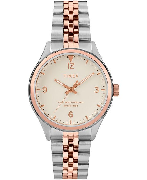 Timex Waterbury Traditional 34mm Stainless Two Tone Rose Gold Steel Case And Bracelet Watch