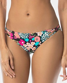 SUNDAZED Printed Stunner Strappy Hipster Bikini Bottom