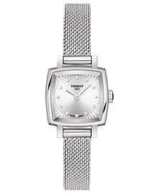 Women's Swiss T-Lady Lovely Diamond Accent Stainless Steel Mesh Bracelet Watch 20mm