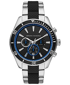 Men's Chronograph Enzo Two-Tone Stainless Steel & Silicone Bracelet Watch 46mm