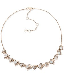 "Gold-Tone Crystal & Stone Collar Necklace, 16"" + 3"" extender"