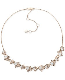 "Marchesa Gold-Tone Crystal & Stone Collar Necklace, 16"" + 3"" extender"