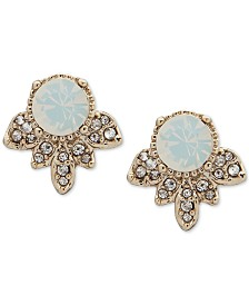 Marchesa Gold-Tone Crystal & Stone Button Earrings