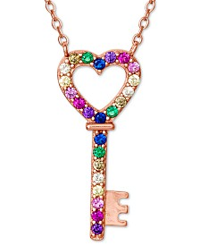 "Giani Bernini Cubic Zirconia Rainbow Heart Key Pendant Necklace in 18k Rose Gold-Plated Sterling Silver, 16"" + 2"" extender, Created for Macy's"