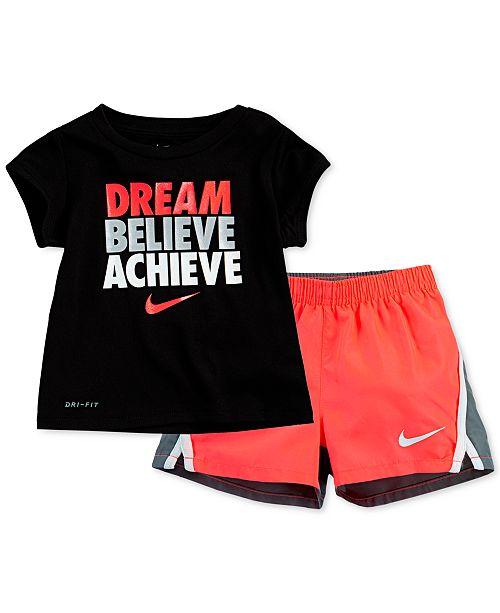 Nike Toddler Girls 2-Pc. Dream Believe Achieve Dri-FIT Logo T-Shirt & Colorblocked Running Shorts