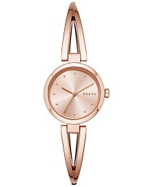 DKNY Women's Crosswalk Rose Gold-Tone Stainless Steel Bangle Bracelet Watch 26mm