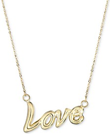 """Love"" 18"" Pendant Necklace in 10k Gold"