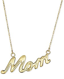 """""""Mom"""" 18"""" Pendant Necklace in 10k Gold"""