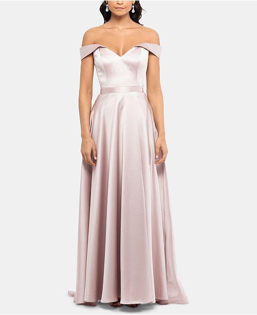 2d15760aba0 XSCAPE Off-The-Shoulder Satin Gown   Reviews - Dresses - Women - Macy s