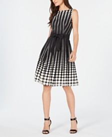 Anne Klein Sleeveless Printed Cotton Fit & Flare Dress