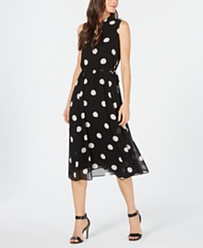 Anne Klein Printed Split-Neck A-Line Dress