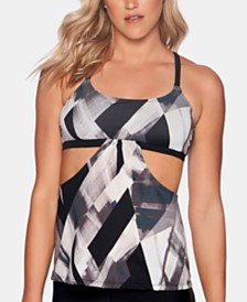 Reebok Printed Cutout Strappy-Back Tankini Top