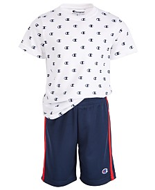 Champion Little Boys 2-Pc. Logo T-Shirt & Mesh Shorts Set
