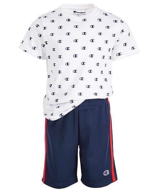 Champion Little Boys 2-Pc. Logo T-Shirt & Mesh Shorts Set