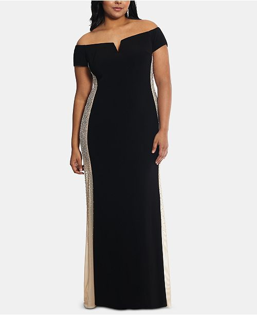 XSCAPE Plus Size Embellished Off-The-Shoulder Gown