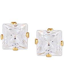 Swarovski Zirconia Princess Stud Earrings in 14k Gold