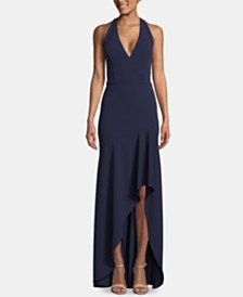 Betsy & Adam V-Neck High-Low Gown