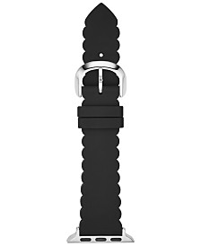 kate spade new york Women's Black Scalloped Silicone Apple Watch Strap 42mm/44mm