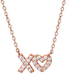 "Giani Bernini Cubic Zirconia XO Pendant Necklace in 18k Rose Gold-Plated Sterling Silver, 16"" + 2"" extender, Created for Macy's"