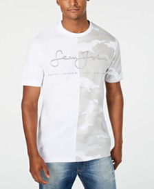 Sean John Men's White Party Split Camouflage Signature Logo Graphic T-Shirt