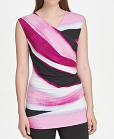 DKNY Printed Ruched-Side Top