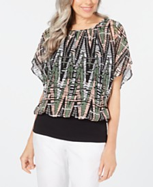 JM Collection Petite Printed Flutter-Sleeve Top, Created for Macy's