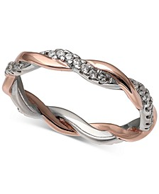 Cubic Zirconia Twist Ring in 18k Rose Gold Over Sterling Silver and Sterling Silver, Created for Macy's