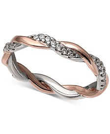Giani Bernini Cubic Zirconia Twist Ring in 18k Rose Gold Over Sterling Silver and Sterling Silver, Created for Macy's