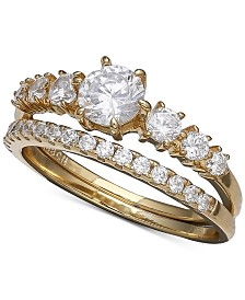 Giani Bernini Cubic Zirconia Bridal Set in 18k Gold Over Sterling Silver, Created for Macy's