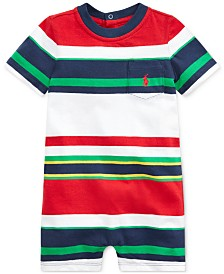 Polo Ralph Lauren Baby Boys Striped Cotton Shortall